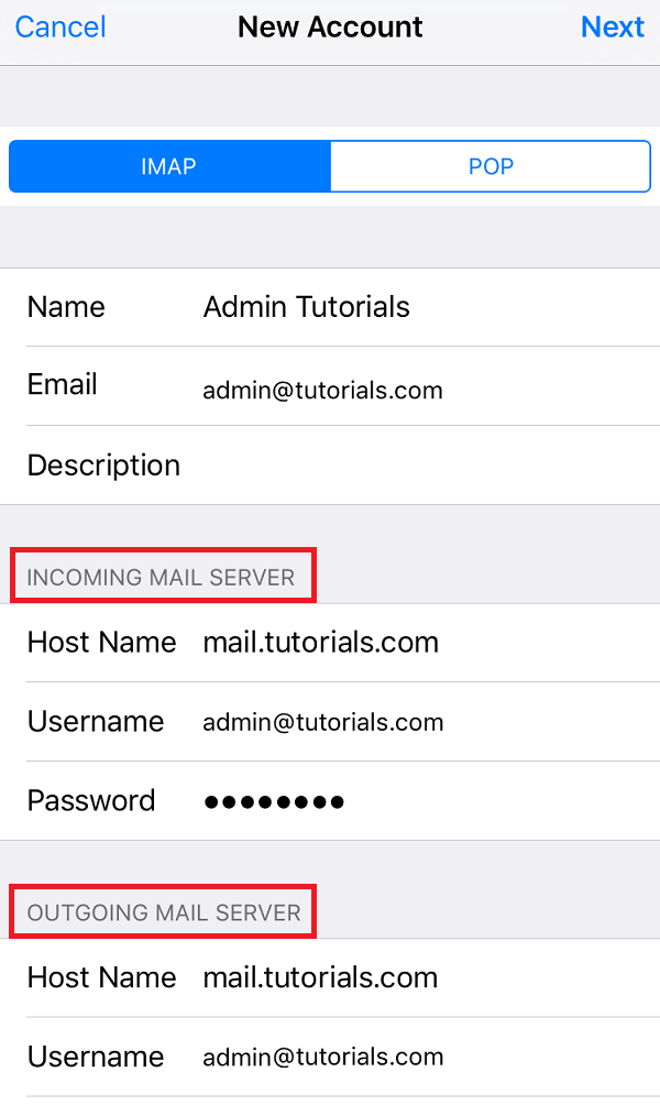 How to configure Plesk mail in iOS - Step 6