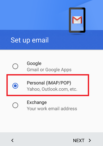 Configure Plesk mail in Android Step 2