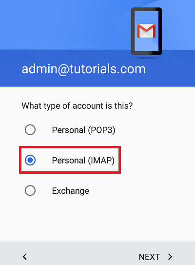 Configure Plesk mail in Android Step 4